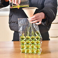 24 Grids Quick Ice Cube Making Bag Disposable Clear Easy Party Freezer Bag 10pcs