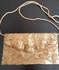 Elegant APT 9 Gold Satin Seed Bead Embellished Envelope Clutch Purse Evening Bag