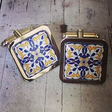 Unique! SPANISH TILE CUFFLINKS chrome BLUE & YELLOW morroccan ALHAMBRA flower