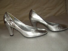 """SILVER COURT S 7 SHOES 3.5"""" INCH HEEL BOW DETAIL NEWLOOK YOUR FEET LOOK GORGEOUS"""