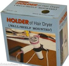 NEW HAIR DRYER HOLDER STAND WALL OR SHELF MOUNTED Black