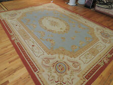 Stunning French Aubusson Design Oriental Rug/Carpet 9x12 Blue Red 100% Wool