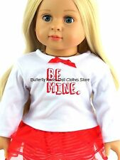 Be Mine Valentine Day Tutu Skirt Set Doll Clothes Made For 18 in American Doll