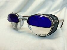 AMERICAN OPTICAL WELDING GLASSES COBALT FLIP UP CABLE TEMPLES Z87 GLASS SAFETY