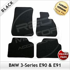BMW 3-Series E90 E91 2005-2013 Velcro Tailored LUX 1300g Car Carpet Mats BLACK