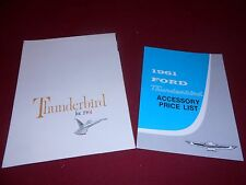 1961 FORD THUNDERBIRD ORIGINAL BROCHURE + 61 T-BIRD ACCESSORIES LIST CATALOG
