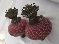 VICTORIAN NAILSEA GLASS PEG OIL LAMP FONTS AND BURNERS . PAIR.