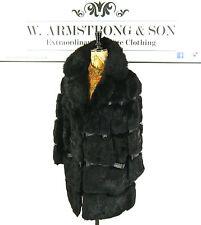 Women's Vintage Nero Lucido CONEY vera pelliccia di coniglio DIVA GLAM anni'70 Lungo Cappotto FESTA L