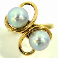 DOUBLE SILVER GRAY PEARL RING 14K YELLOW GOLD 7.75 MM ROUND GREAT LUSTER ESTATE