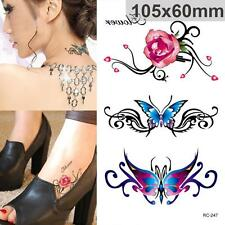 Color Butterfly Rose Temporary Sticker Body Art Fake Tattoo Decal Shoulder UK