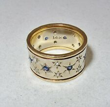 Vintage 14K Gold Eternity Ring w/ Blue Sapphires & Seed Pearls (8.1g, size 6.75)