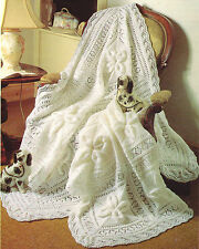 BABY KNITTING  PATTERN   for stunning shawl cot blanket  scalloped boarder