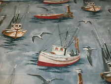 Nautical Novelty Fabric Boats Allover Sea Gulls Sails Water Sea BTY