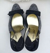 DOLCE&GABBANNA Sling Back Blk Leather &wool Shoes