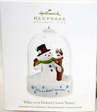 2012 Hallmark WHO-O-O DOESN'T LOVE SNOW Club Ornament SNOWMAN OWL DEER *Priority