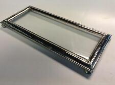 "Moroccan Hand Hammered Silver Finish Metal 10""x 4"" Glass Display Tray"