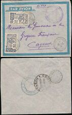 MARTINIQUE to FRENCH GUIANA 1939 CENSORED AIRMAIL
