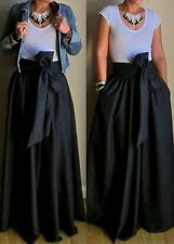 plus size Long  Satin polyester  maxi Skirt Black With Pocket and a Bow