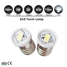 2PCS E10 LED Screw Base Indicator Bulb Cold White 3V for Torch bike bicycle 5730