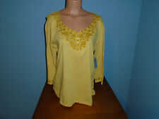 New Womens Size Large L Laura Scott Yellow Embroidered Henley Top Shirt Cotton @