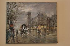 Vintage city street painting in oil on canvas signed by artist  KOSS