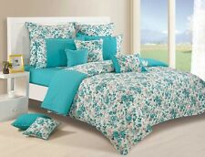 Swayam Truquoise and White Colour Mix n' Match Floral Print Single Bed Sheet