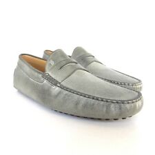 W-2024160 New Tods Shadded Gray Leather Gommini Drivers Loafers Size 9.5 US-10.5