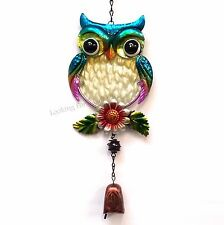 OWL ON LEAVES WITH FLOWER wind chime, mobile with metal bell, metal wall art