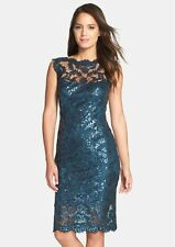TADASHI SHOJI SEQUIN ILLUSIONS LACE TEAL BLUE SHEATH  DRESS sz 4