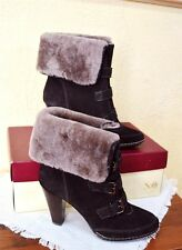 NEW Sofft Skagen Ankle Boots 7.5M Brown Suede Taupe Shearling Wool Cuffs Heels