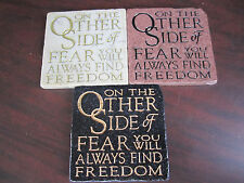 UNDER The SUN Set of 3 On The Other Side Of Fear Find Freedom CERAMIC TILES New