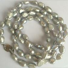 """NEW long 34 """" 7-8mm baroque gray freshwater pearl necklace AAA  YL"""