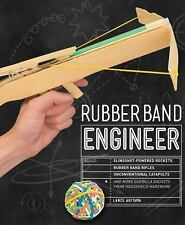 Rubber Band Engineer Book~Build Slingshot Rocket~Guerrilla Gadgets~Wood Toys~NEW