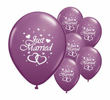 "10 JUST MARRIED PURPLE 11"" HELIUM QUALITY PEARLISED WEDDING BALLOONS (PA)"
