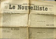 Le Nouvelliste de Lyon n°37 du 6/02/1920 - L'Incident Von Lersner - P.L.M Accide