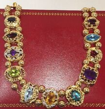 14k Yellow Gold Amethyst Garnet Peridot Tanzanite Diamond SLIDE Bracelet 7.25""