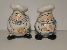 Vintage Fat french chefs salt and Pepper Shakers Hand Painted Tracy Flickinger?