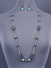 LONG Station Beaded Green Blue Gold Tone Necklace Earrings Set Fashion Jewelry