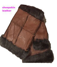 LADIES GENUINE SHEEPSKIN BROWN LEATHER FINGERLESS GLOVES MITTENS XMAS GIFTS