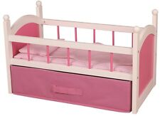 Wooden White Pink Doll's Bed Cot Crib Girls Babies Dollies Children Sleep Night