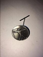 VITRUVIAN MAN DR44 Tie Pin With Chain Made From English Pewter