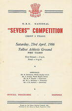 WRU GROUP 5 (DISTRICT D) RUGBY SEVENS PROG 1966 Taibach, Cwmgwrach Seven SisterS