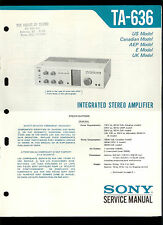 Rare Original Factory Sony TA 636 Stereo Amplifier Amp Service/Repair Manual