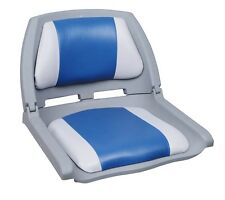 Folding Plastic Fishing Boat Seat - Grey / Blue