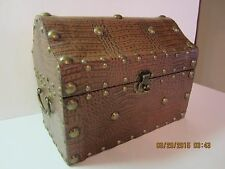 Decorative Leather & Brass Treasure Chest Box-1980's-Lined
