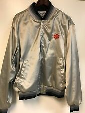 RARE VINTAGE 80'S SUZUKI WORLDWIDE SATIN JACKET SZ XL SILVER RACING CARS MOTORS