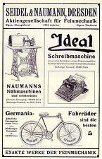 SEIDEL & NAUMANN DRESDA cuci-U. macchine da scrivere biciclette la pubblicità di 1908