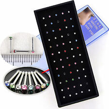 60pcs Wholesale Lots Body Jewelry 316L Surgical Steel Rhinestone Nose Studs