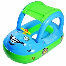 INFLATABLE BABY FLOAT SEAT BOAT BEACH CAR SUN SHADE WATER SWIMMING POOL CAR BLUE