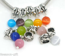 10Mixed Cat's Eye GlassDangle Bead Fit Charm Bracelet